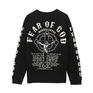 Erkek Tasarımcı T Gömlek High Street SİS Noel İsa Din Çapraz Mektupları Baskı Uzun Kollu Tişört Casual Giyim S-XL
