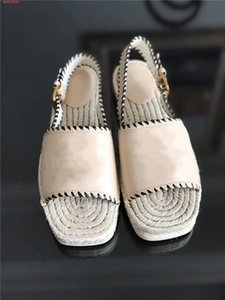 Ladies classic spring summer new flat Square head sandals Embroidery vamp with straw bottom fisherman sandals Complete set of shoe box