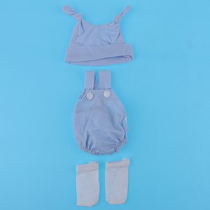 Adorable Rompers Suspender Trousers and Hat and Socks Outfits for 10 11 inch Reborn Baby Newborn Girl or Boy Dolls Clothes