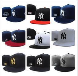 Atacado 2019 homens new york clássico Azul Marinho equipado chapéu plana Brim embroiered equipe ny logotipo fãs de beisebol Chapéu de alta qualidade completa fechada ossos