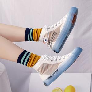 Женская обувь Осень Trending Стиль унисекс кроссовки High Tops Transparent Sole Jelly Sole Прохладный моды Lovers Повседневная обувь 35-44