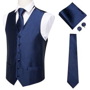 HiTie Mens Classic Men's Outerwear & Coats Men's Clothing Blue Silk Jacquard Waistcoat Vest Handkerchief Cufflinks Party Wedding Solid Tie V