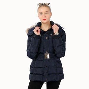 여성 Outcoat 겨울 탑 스레드 커프 가짜 모피 후드 금속 단추 플라스틱 지퍼 슬림 탄성 벨트 허리 폴리 패딩 롱 재킷 포켓