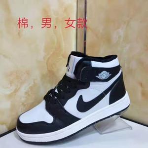 Новая мода мужская и женская пара ВВС № 1 баскетбол обувь осенью и зимой высоким верхом случайных спортивной обуви плюс бархат хлопок обуви