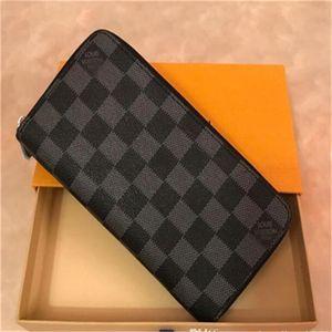 Wholesale fashion designer Women wallets Louìs Vuìttõn ong wallet single zipper clutch purse with Wrist strap box