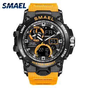 Спортивные часы мужские SMAEL брендированные мужские часы военный s анти-шок наручные часы 50M водонепроницаемый 8011 моды для мужчин спортивные часы