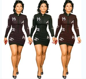 Lattice Bodycon платье Женщины печати Новая повязка экипажа шею длинным рукавом Тонкий случайные Колено длина платья стильные платья партии Мини платье S-XL