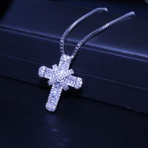 nueva plata de la llegada de la boda cruz mujeres colgante brillante collar de circón CZ regalo colgante de cristal collar de fiesta