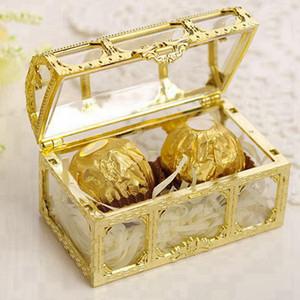 Favor de la boda del cofre del tesoro caja del caramelo de mini cajas de regalo de la categoría alimenticia de plástico transparente Joyería stoage Caso RRA2297