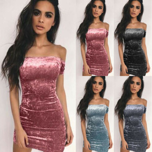 Fashion Women Bodycon Velvet Short Sleeve Party Cocktail Clubwear Mini Dress