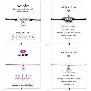 Bracelet de souhaits de mode avec carte-cadeau Couronne infirmière trousse médicale professeur lotus Charm breloque corde de cire Bracelet pour femme