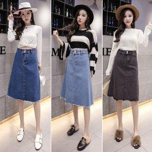Tingyili Korean Denim Skirt Spring Summer High Waist A Line Jeans Skirts Womens Blue Black Midi Skirt