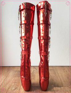 Plus Size Ballet Boots Metallic Red Buckle Straps Ballet Heels 10 Locks Wedge Intersex Boots Fetish Gothic Boots For Ladies Shoes