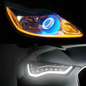 2x ultrafinas Carros DRL LED luzes diurnas Branco Turn Signal Guia Amarelo Faixa de Farol Assembly Drop Shipping