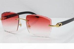 Senza bordo intagliato Lens adumbral occhiali da sole 3524012 originale nero corno di bufalo senza montatura occhiali Lens Vintage Nuova vetri unisex moda classica