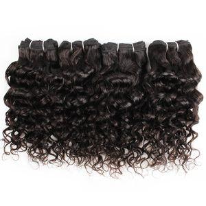4 pcs cabelo humano pacotes onda de água 50g / pc natural cor indiana mongol curly cabelo virgem tecer extensões para curto bob estilo