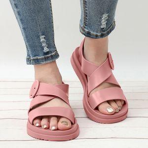 BONJEAN Kadın Ayakkabı Açık Burun Toka Yumuşak Jelly Sandalet Bayan Casual Hayır Kayma Düz Platformu Beach Ayakkabı 2020 Yaz BJ2482