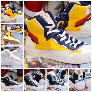 Sacai X Nk Blazer with Dunk xshfbcl Sacai X Blazer Mid ile Dunk Erkek Tasarımcı Ayakkabı Yüksek Beyaz Siyah Legend Mavi Kar Sahil Casual Erkek Kadın Ayakkabı çalıştıran