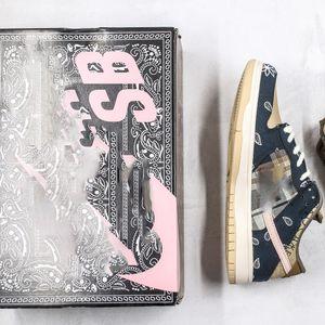 [Especial Shoebox] flores Travis x SB Dunk Low Scott caju Skate Sapatos para Homens Running Shoes Casual Sneakers Homens Trainers tamanho 11