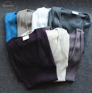 80% Silk Solid 20% Cotton Stretch Knitted Round Neck Long Sleeve Pullover Sweater Top Base Shirt Sg3110