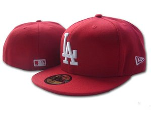 2020 Top Fashion Fan de Qualidade Popular LA Red cor lisa embutida Caps Men Esporte Todos equipa de beisebol completa fechados Design Chapéus Tamanho Bones