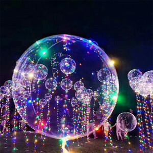 18 pouces poignée Led ballon lumineux transparent à l'hélium Bobo Ballons de fête d'anniversaire de mariage Décorations enfants LED Ballon