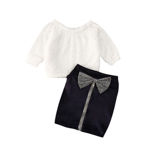 1-6Y Infant Baby Girl Clothes Define Fur Alças manga comprida camisola branca Tops + Bow Zipper preto Saias