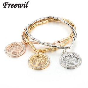 Retro Round Pendant Bracelets Vintage Gold Elastic Chain Bracelet For Women Imitation Crystal Pulseras Sbr160105