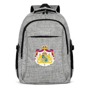 Suécia Brasão de armas emblema Moda Sports Backpack, Design Pattern fresco ajustável adequado para a escola Viajando Bandeira Backpack Sueca de