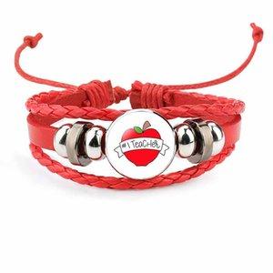 Insegnare l'amore ispirare i braccialetti di fascino per il regalo festa della donne degli uomini fatti a mano in pelle intrecciata String corda Wrap braccialetto di modo Maestro gioielli