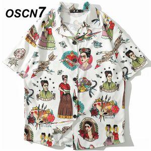 Oscn7 2019 Casual Print Kurzarm Shirt Männer Streetwear Sommer Hawaii Beach Frauen Mode Lose Kurzarm Shirts Herren 1005 Y19070501