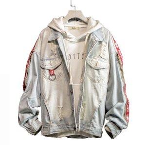 Мужская мода джинсовой Hole Сыпучие длинным рукавом куртки вскользь Bomber Jacket Hip Hop Retro Denim Streetwear