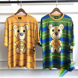 camisas Stripe Verde Amarelo DREW Casa T-shirts Mulheres Homens Melhor Verão de Qualidade Estilo DREW Top Tee T