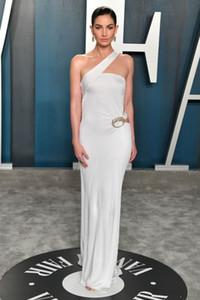 Lily Aldridge Bianco abiti da Oscar Prom una spalla abiti di sera di Plus Size Special Occasion Vestido de fiesta Party Dress Red Carpet