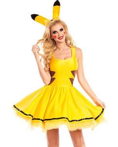 ملابس المسرح اللباس الجميل المصممات بيكا Cosplay زي أصفر