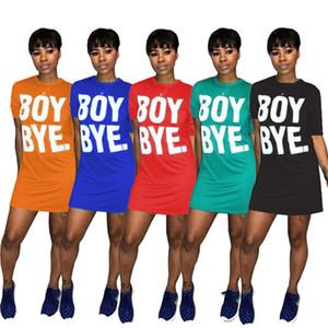 Summer Women T Shirt Dress Solid Color Designer Boy Bye печати Роскошные мини платья с коротким рукавом Спортивные платье Party Club Wear Юбки D6906