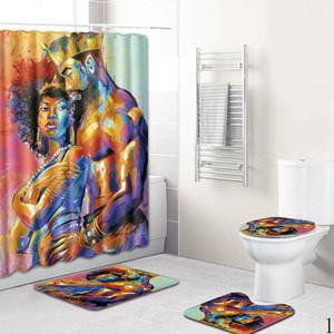 Пары мужчины и женщины украшения ванной комнаты полиэфирное волокно 45 * 75cm50 * 80 см душевая занавеска ковер набор туалетный коврик нескользящий ковер дома