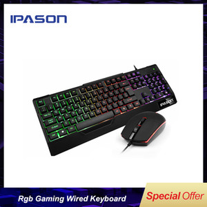 IPASON Alman Retro USB RGB Gaming Wired Klavye Oyunu LOL / Sadece Rus Depo / Ücretsiz ve Hızlı Kargo
