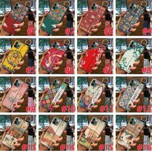 Para Iphone 11 PRO MAX X XS XR 8 7 mais 6 6S SE 5 5S flor de pulso Banda TPU macio stand aperto colhedor Telefone Padrão pele da tampa 5pcs Luxo