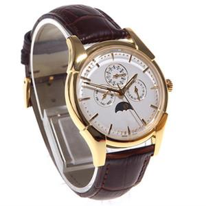 Классический бизнес Часы вотчина Heritage Series сапфировое Тонкий Perpetual Calendar Mississippi крокодильей кожи водонепроницаемый наручные часы