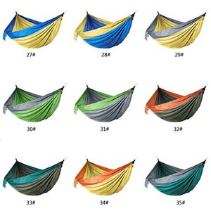 44 Colors Nylon Hammock With Rope Carabiner 106*55 inch Outdoor Parachute Cloth Hammock Foldable Field Camping Swing Hanging Bed BC BH1338-1