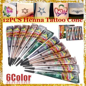 12pc Indian Mehndi Black White Henna Tattoo Paste Cones Colored Body Art Paint Waterproof Temporary Tattoo Stickers Free Stencil