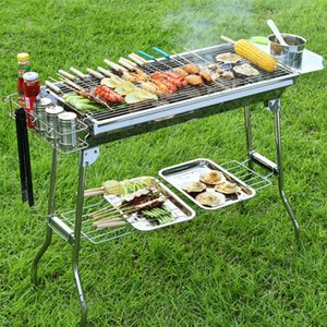 High Quality BBQ Charcoal Grill Portable Foldable Stainless Steel Barbecue Stove Shelf for Outdoor Garden Family Party