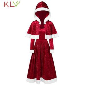 Christmas Dress vestido de veludo elegante do vintage com capuz Manto Evening Partido 2020 Festival traje Mulheres Winter 19Sp