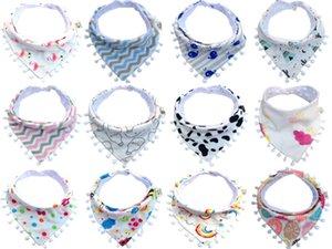 Bavaglini per bambini Nappa di pizzo di cotone Doppio slobber Triangolo di cartone animato Neonati impermeabili Asciugamani Tovaglioli per bambini Cura di auto-alimentazione