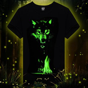 Novità 3D MENS lupo maglietta fredda lupo stampato magliette estate del cotone casuale a maniche corte 3D bagliore nel buio magliette di buona qualità S-3XL