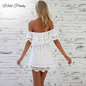 WildPinky 2020 Summer New Fashion Women Elegant Stylish Sexy Slash Neck Casual Vintage Sweet Lace White Slim Beach Dress MX200508