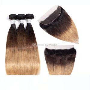 H 13x4 Lace Frontal Closure With Bundles Ombre Brazilian Straight 3 Bundles With Lace Frontal Blonde Human Hair Weave Color 1b 4 27 30
