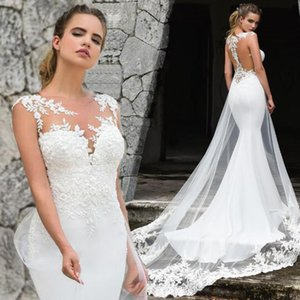 2020 Corte de encaje de cuello Árabe Oriente Medio sirena vestidos de novia tripulación del tren de marfil de la vendimia Vestidos de novia BA8884