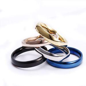 فراغ الفولاذ المقاوم للصدأ خاتم الذهب بسيط الأزرق خواتم فرقة الموضة للنساء رجالي خاتم الأزياء والمجوهرات ويل وهدية الرملية